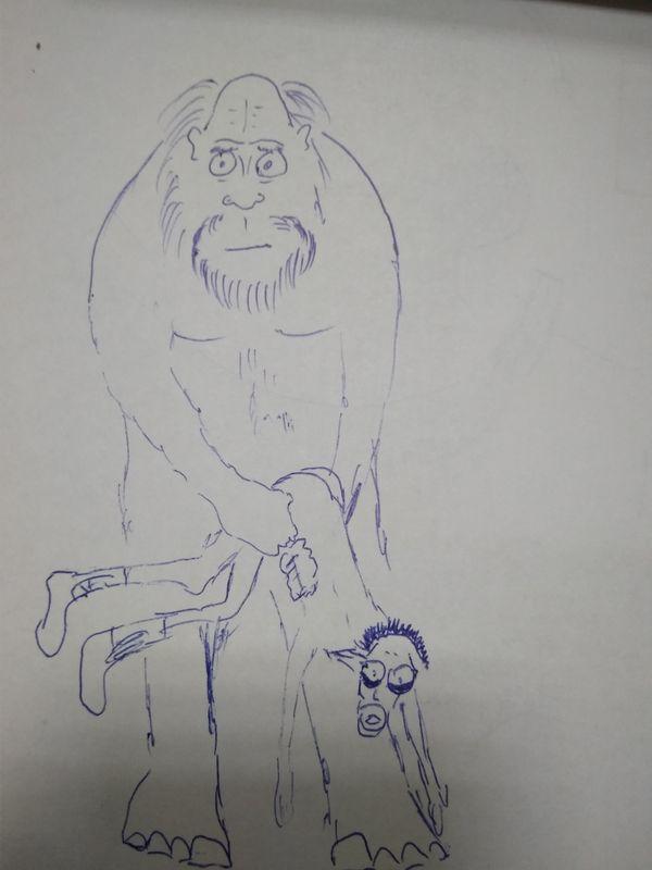 Рисунок Йетти из дневника потерпевшего Альпиниста
